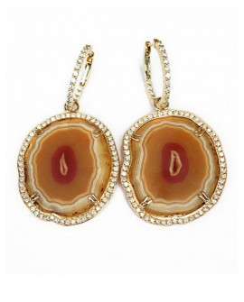 Diamond And Agate Drop Earrings