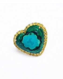 Malachite And Chryscolla Statement Ring