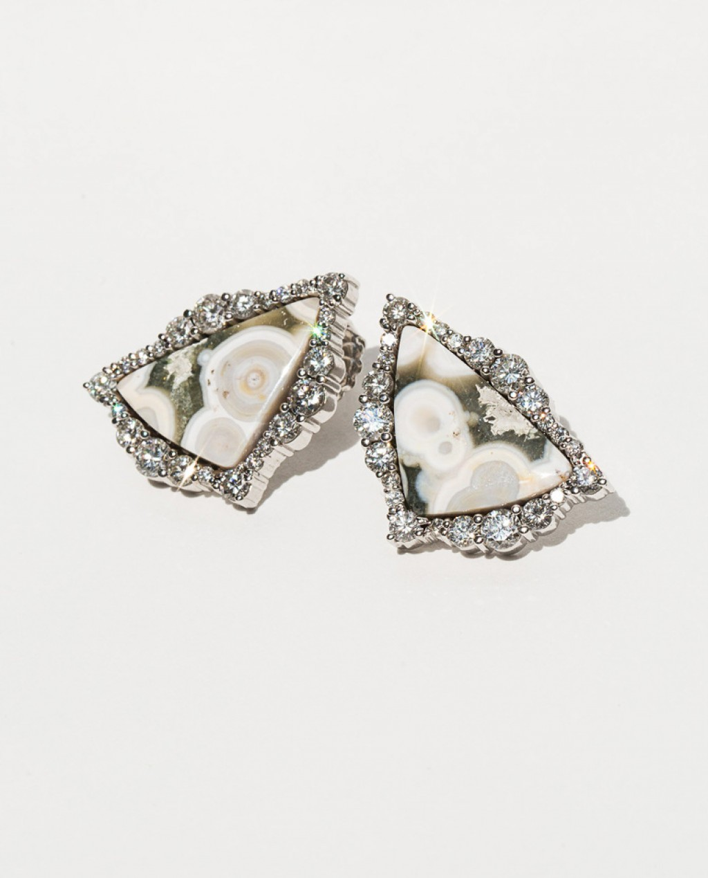 Ocean Jasper 14K White Gold Studs SOLD
