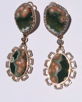 Ocean Jasper Set in14K Rose Gold Dangle Earrings